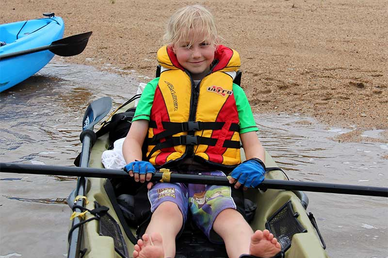 Kids on kayaks – school holiday fun